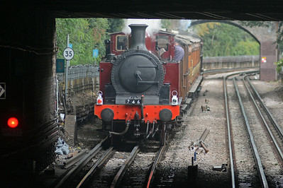 At the rear of the ensemble is 0-4-4T no.1. Incidenatlly it was given the number 1 by the Metropolitan to replace an A class 4-4-0T which had been written off following an accident.