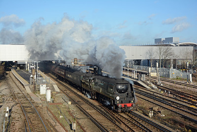 34067 Tangmere storming through Gatwick Airport on the Eastbourne Belle, on time at mid-day