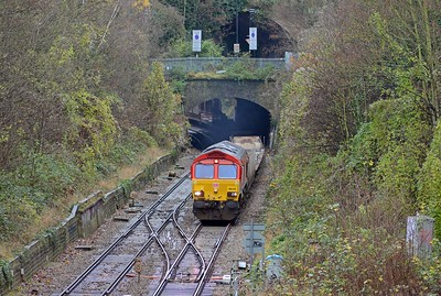 66118 emerging from Crouch Hill Tunnel on the 6L35 Didcot to Dagenham empty car carriers.