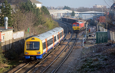 On time at 10:51 59204 started easing its train out of the loop. 172 004 forms  the 10:50 Gospel Oak to Barking